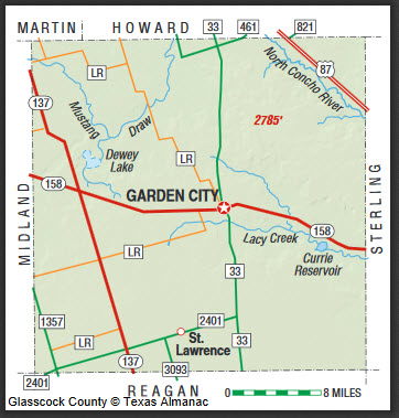 Glasscock County Map. Courtesy of the Texas Almanac. Image available on the Internet and included in accordance with Title 17 U.S.C. Section 107.